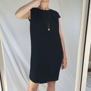 COS navy blue capped sleeve knee length dress